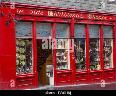 EDINBURGH, SCOTLAND - MARCH 12TH 2016: Ye Olde Christmas Shoppe situated on Canongate in Edinburgh, on 12th March - Stock Photo