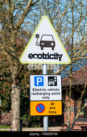 Sign for an ecotricity electric vehicle recharging point. - Stock Photo