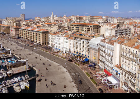 Aerial view on the quay of the old port, the town and the city hall of Marseille, France - Stock Photo