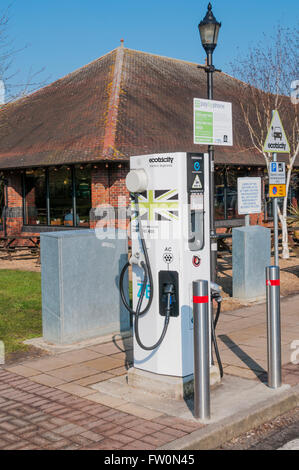 An ecotricity Electric Highway electric car charging point at Maidstone Services on the M20 motorway. - Stock Photo