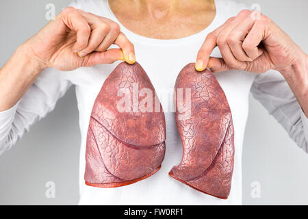 female person holding two artificial models of lungs in front of body with white shirt - Stock Photo