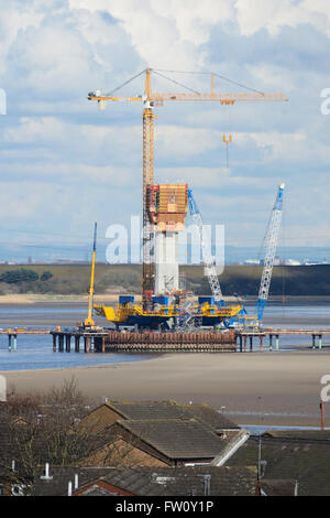 Mersey Gateway project - the new Runcorn-Widnes bridgebeing constructed across the River Mersey by West Bank, Widnes. - Stock Photo