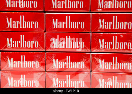 Selection of Marlboro Cigarettes on sale in a tobacconist. - Stock Photo