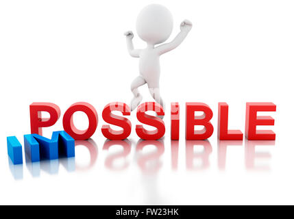 3D Illustration. White people turning word impossible into possible. Business concept. Isolated white background. - Stock Photo
