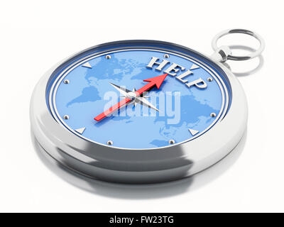 3D Illustration. Compass pointing the word help. Isolated white background.