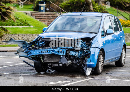 A crashed Ford car on Southend seafront - Stock Photo