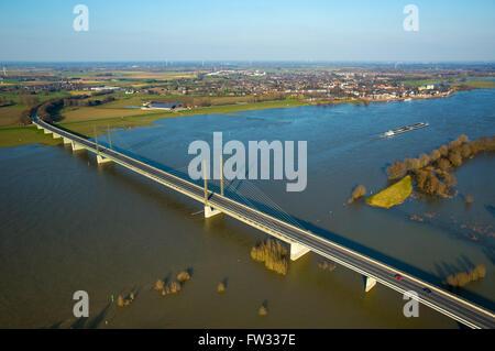 Aerial view of the Rhine bridge of Rees during flooding, Rees-Kalkar, Lower Rhine, North Rhine-Westphalia, Germany - Stock Photo