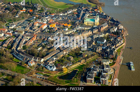 Aerial view of the city of Rees with the church Saint Mary of the Assumption and the Rhine, Rees, Lower Rhine - Stock Photo