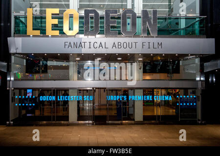 The Odeon Cinema in Leicester Square congratulates Leonardo DiCaprio on his win at the Oscars.  Featuring: View - Stock Photo