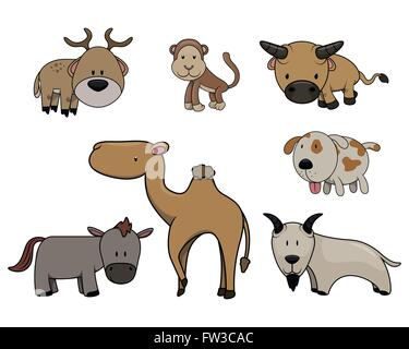 Cute animals set - Stock Photo