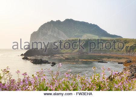 Seongsan Ilchulbong Tuff Cone, Jeju, South Korea - Stock Photo