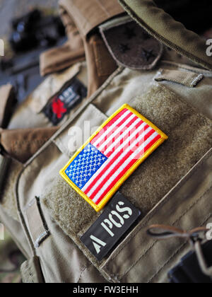 Los Angeles, CA, USA - January 24, 2016: LBT 6094A SLICK Plate Carrier with USA flag patch shallow depth of field - Stock Photo