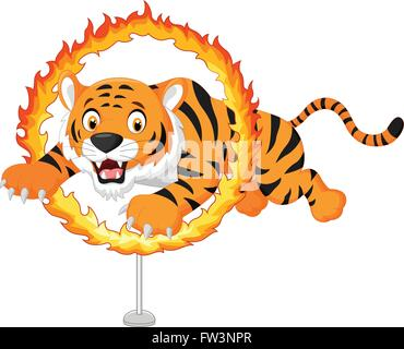Cartoon tiger jumps through ring of fire - Stock Photo