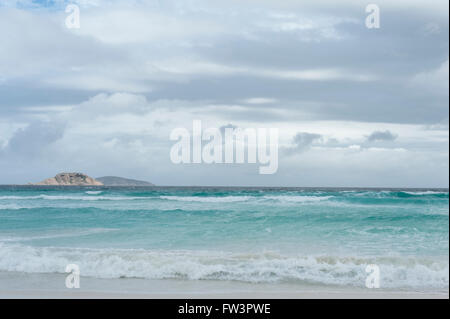 White beach and turquoise waters at Wylie Bay, Esperance, Western Australia - Stock Photo