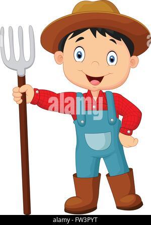 Cartoon young farmer holding rake - Stock Photo