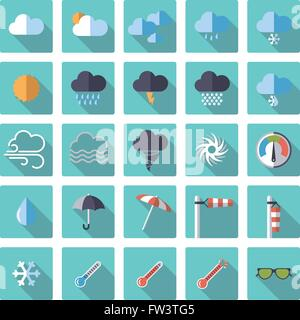 Weather and climate related flat design icons in rounded squares - Stock Photo