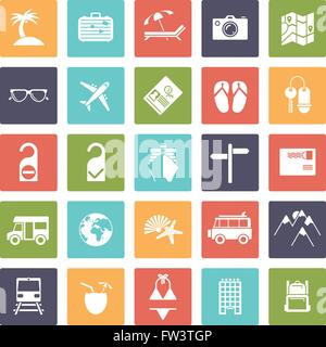 Travel and vacation glyph icons, negative in rounded squares - Stock Photo