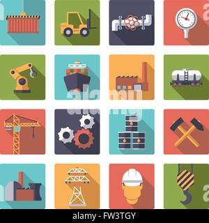 Flat design industry themed vector icons in rounded squares - Stock Photo