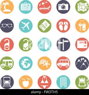 Travel and vacation glyph icons, negative in colored circles - Stock Photo