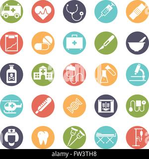 Medical and health care related icons set, negative in colored circles - Stock Photo