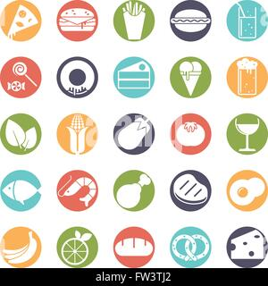 Food and drink vector icons set, negative in colored circles - Stock Photo