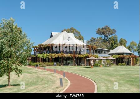 Homestead and vineyard of Vasse Felix, the oldest winery in the Margaret River region, Cowaramup, Western Australia - Stock Photo