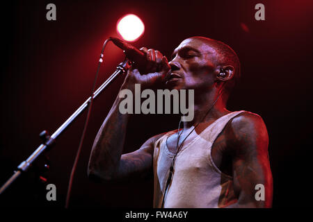 MOSCOW - 30 MARCH, 2016 - Famous trip hop producer and singer Adrrian Thaws known as Tricky presents his album Skilled - Stock Photo