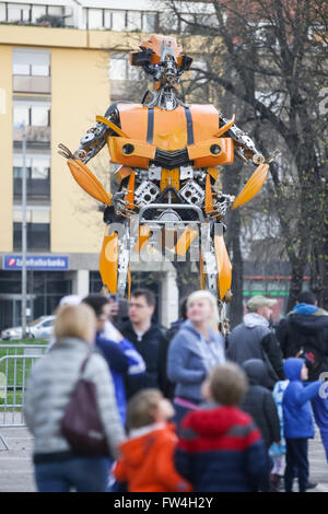 ZAGREB, CROATIA - MARCH 26, 2016 : Exhibition by Danilo Baletic (23) named Transformers protecting Zagreb on square - Stock Photo