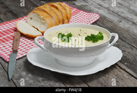 mashed potato dishes with bread slices - Stock Photo