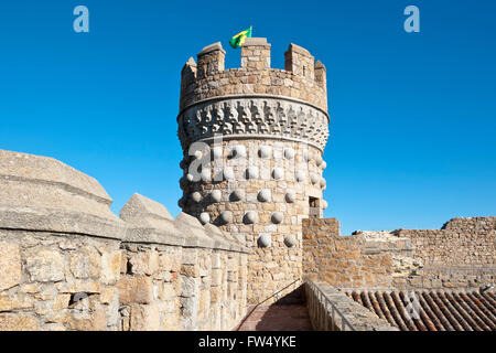 Tower of the New Castle of Manzanares el Real, Madrid Province, Spain. - Stock Photo