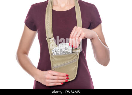 Travel bag for the money. On a white background. - Stock Photo