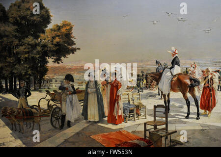 François Flameng (1856-1923). French painter. Napoleon I and the king of Rome at Saint-Cloud in 1811, 1896. Oil - Stock Photo