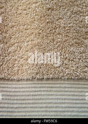 Brownish-yellow bath towel texture - Stock Photo
