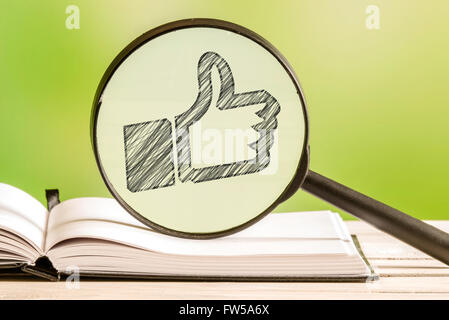 Approved information with a pencil drawing of a thumbs up icon in a magnifying glass - Stock Photo