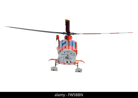 Isolated flying rescue helicopter on white background - Stock Photo