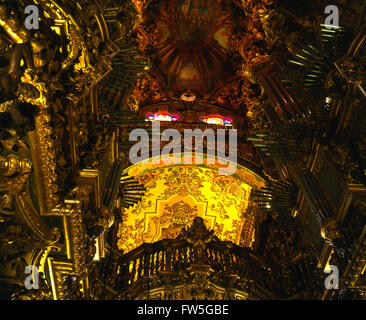 Sé Cathedral in Braga, province of Minho, Portugal - interior view of the dome / ceiling / frescos, 2003. Organ - Stock Photo