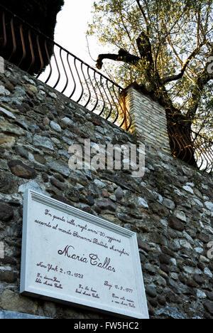 House of Maria Callas with plaque on wall, Lake Garda, Italy. MC: Greek soprano, opera singer, 2 December 1923  - Stock Photo