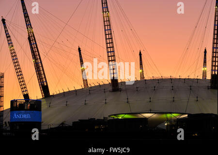 sunset view of the exterior constructional 'spires' of the O2 Arena, Millennium Dome (Millenium), North Greenwich, - Stock Photo