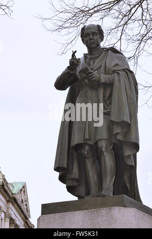 statue of Thomas Moore, 1779-1852, Trinity Green, Dublin, Irish composer poet, translator, balladeer and singer. - Stock Photo