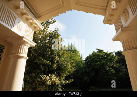 looking out: the porch of Gad's Hill Place, Higham, , above Rochester, Kent, the home of novelist Charles Dickens - Stock Photo