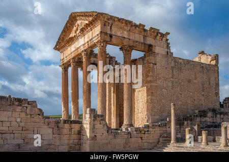 Dougga Roman Temple Ruins A Unesco World Heritage Site In Tunisia - Stock Photo