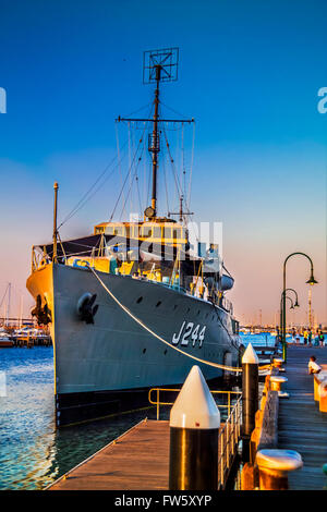 WW2 Australian warship HMAS Castlemaine J244 decommissioned war vessel museum now docked, Gem Pier Williamstown - Stock Photo
