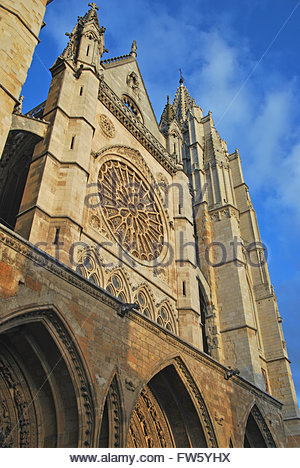 Side view of the facade of Leon Cathedral in gothic style. Leon, Castile and Leon, Spain - Stock Photo