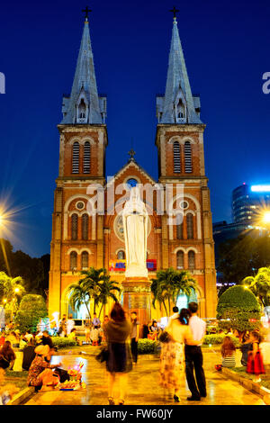 Cathedral Basilica of Our Lady of The Immaculate Conception, Ho Chi Minh City, Vietnam - Stock Photo