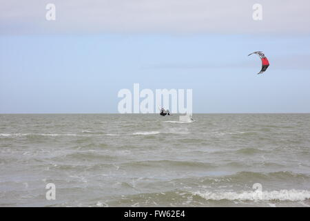 Kite Surfer(s) at Brouwersdam, 4323 Ellemeet, Netherlands - Stock Photo