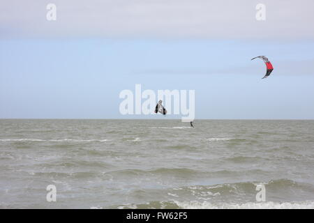 Kite Surfer(s) at Brouwersdam, 4323 Ellemeet, Netherlands - Stock Photo