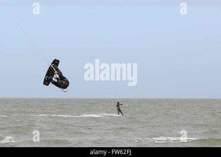 Kite Surfer(s) at Brouwersdam, 4323 Ellemeet, Netherlands, Crop of FW62F5 - Stock Photo