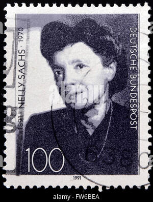 GERMANY - CIRCA 1991: A stamp printed in Germany, dedicated to the 100th anniversary of the birth Nelly Sachs, circa - Stock Photo