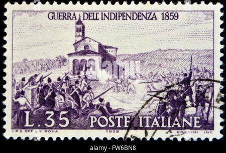 ITALY - CIRCA 1959: stamp printed in Italy shows Battle of San-Fermo, War of Independence, 1859, circa 1959 - Stock Photo