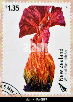 NEW ZEALAND - CIRCA 2004: Stamps printed in New Zealand dedicated to World of WearableArt shows Meridian by Rowan - Stock Photo